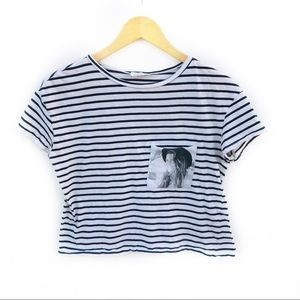 Zara Stripped Cropped Girl with a Hat T-Shirt Sz S